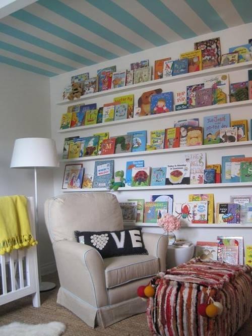 Repisas modernas para libros en habitaciones para niños 5