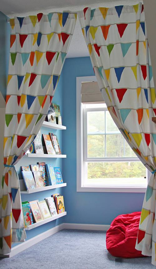 Repisas modernas para libros en habitaciones para niños 8