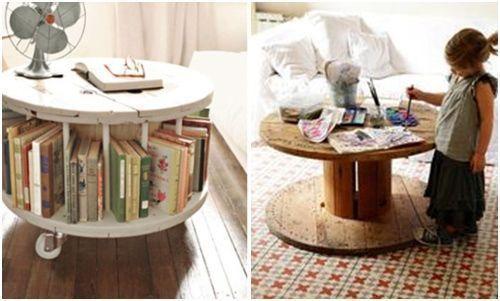 Mesas de bobinas de cable... ¡Las mesas recicladas más originales!  2