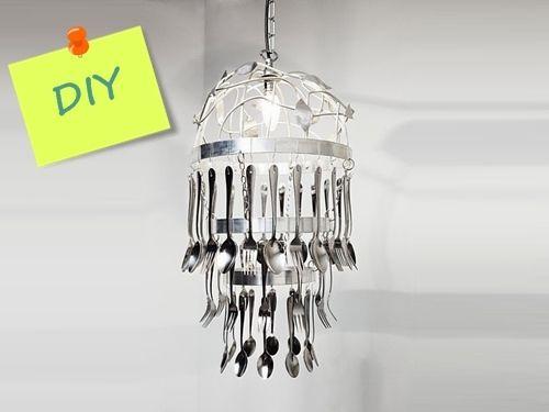 Cómo hacer una lámpara de techo con cubiertos para decorar tu cocina 01