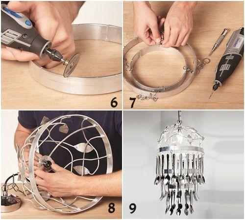 Cómo hacer una lámpara de techo con cubiertos para decorar tu cocina 3