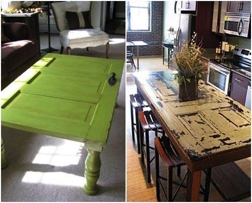 Ideas para reciclar muebles mesas, espejos y cabeceros a partir de puertas viejas 7