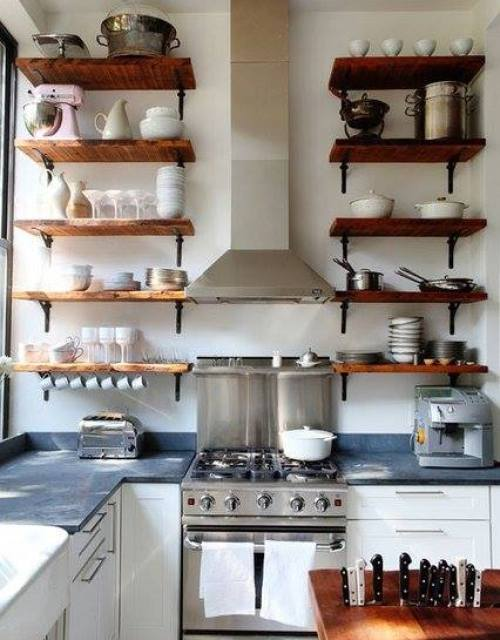 Estanter as de madera baratas para cocinas con encanto - Como hacer estantes de cocina ...
