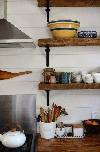 Estanter as de madera baratas para cocinas con encanto for Estanteria forja ikea