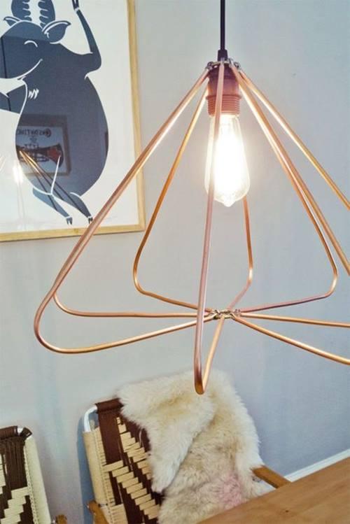 Lámparas de techo cool en tubo de cobre 3
