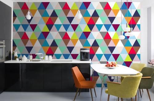 Decoración retro con triángulos Eames multicolor  5