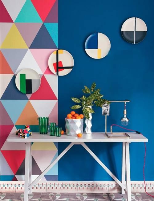 Decoración retro con triángulos Eames multicolor 8