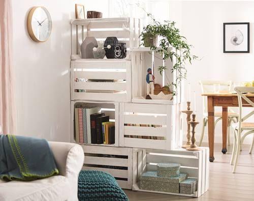 estantera con cajas de madera para fruta 1 - Estanterias Con Cajas