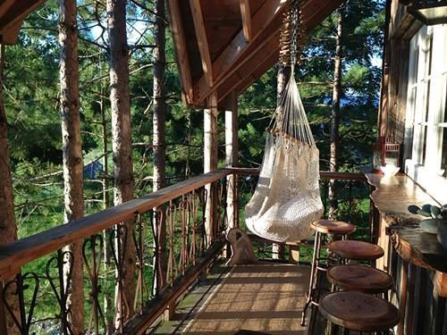 Hammock chair on front porch