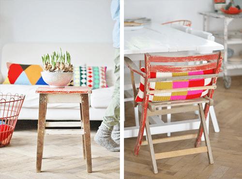 Una casa llena de colores vibrantes entre sencillos muebles vintage 7
