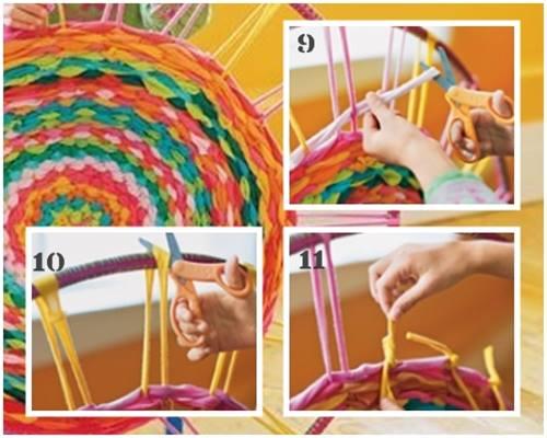 como hacer una alfombra de trapillo con un hula hoop 4