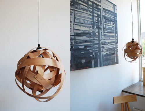 Cómo hacer una lámpara moderna con chapa de madera  2