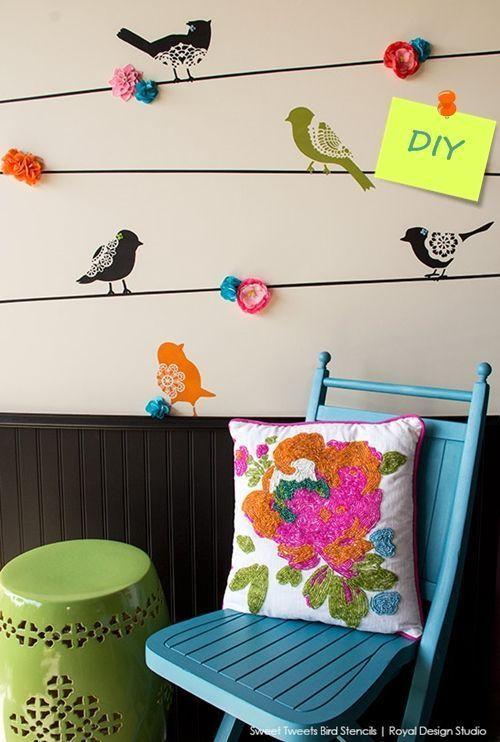 Plantillas para pintar paredes alegres con p jaros - Plantillas para paredes ...
