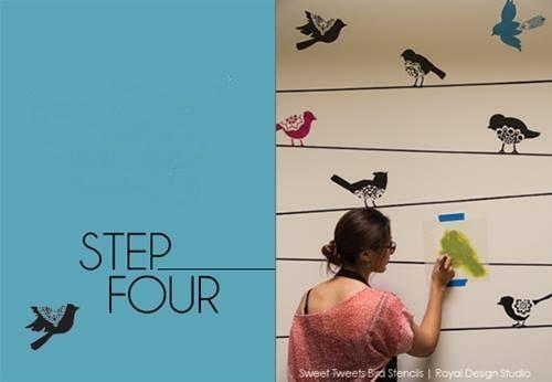Plantillas para pintar paredes alegres con pájaros 4