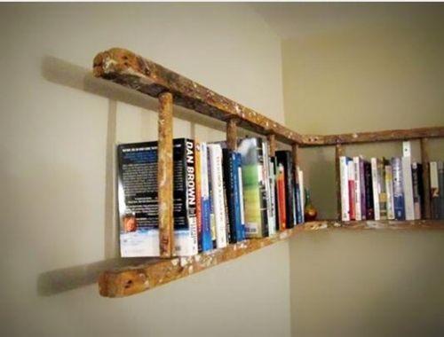 decoracin reciclada estanteras de pared con escaleras de madera rsticas