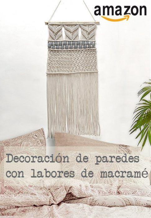 Tapiz de macramé para decorar paredes hecho con cuerda que puedes comprar en Amazon.