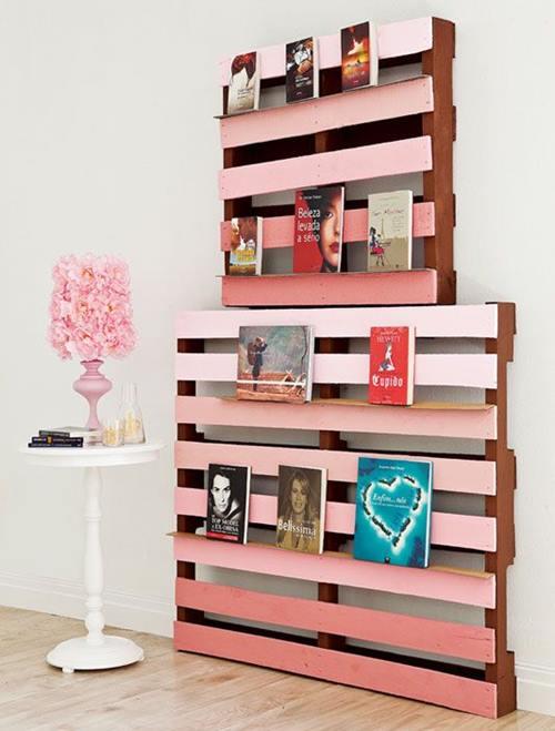 Muebles con palets reciclados que se pintan con colores degradados.