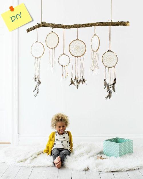 Atrapasueños DIY decorar reciclando tapetes de ganchillo 1