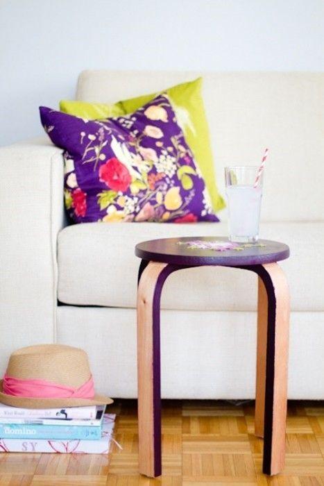 DIY fácil taburete de Ikea tuneado con falso punto de cruz 2