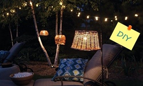 Lámparas recicladas con cestos para decoración de exteriores 1