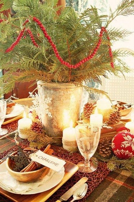 15 Ideas de decoración eco-chic para mesas de Navidad12