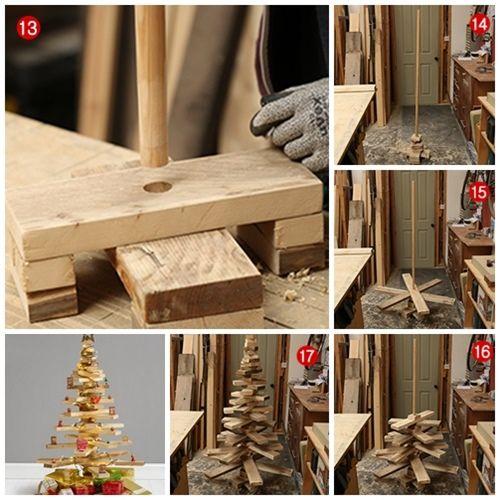 DIY decoracion árbol de Navidad original con listones de madera 4