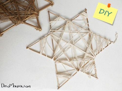 Estrellas de Navidad DIY con palitos y cuerda 1