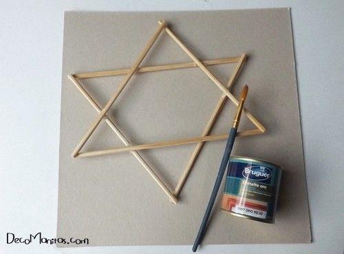 Estrellas de Navidad DIY con palitos y cuerda 9