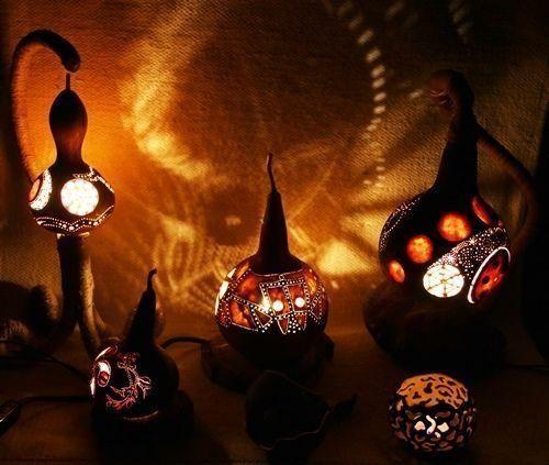 Artesanía con calabazas lámparas originales llenas de misterio 1