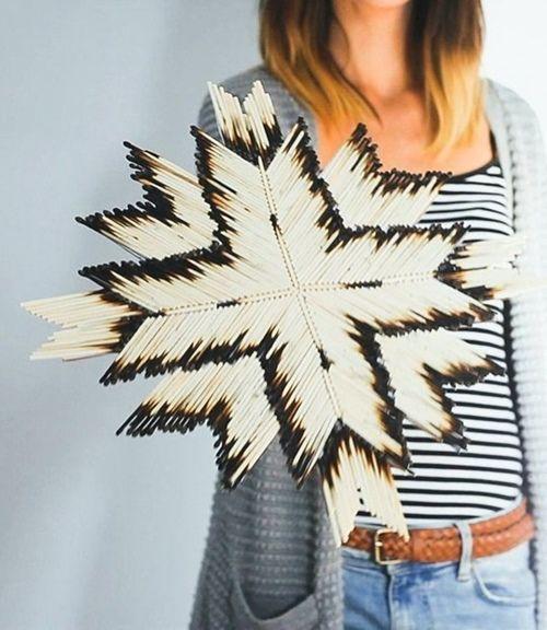 Manualidades originales estrella con cerillas de madera tipo navajo 1