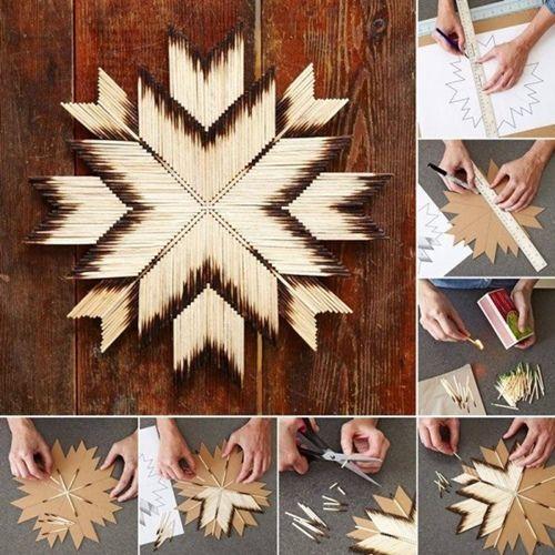 Manualidades originales estrella con cerillas de madera tipo navajo 2