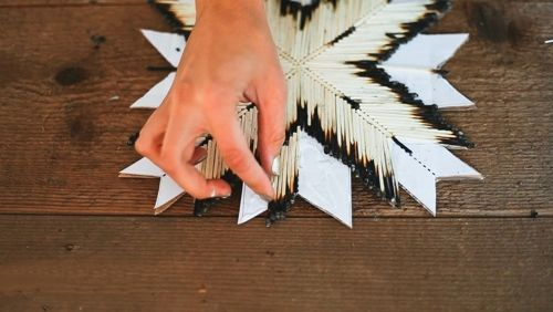Manualidades originales estrella con cerillas de madera tipo navajo 6