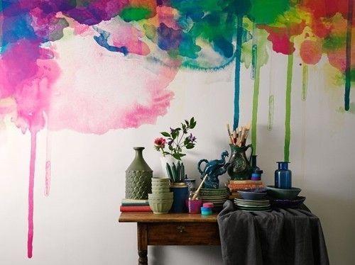 Pintar paredes efecto acuarela o pizarra trampantojos for Pintar paredes con efectos