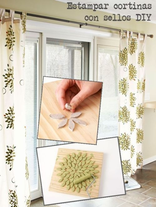 estampar cortinas con sellos diy 1