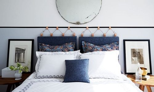 Idea para cabeceros tapizados DIY con tiras de cuero: tendencia