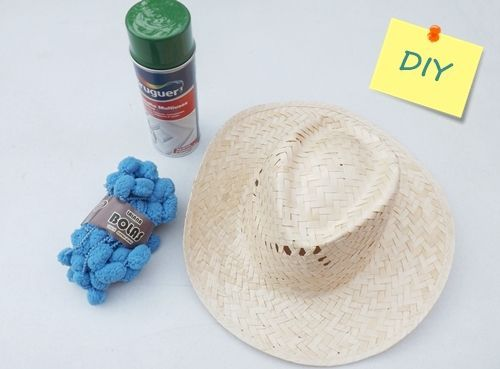 DIY con pintura en spray  cómo personalizar sombreros de paja ... e34a05d38d2