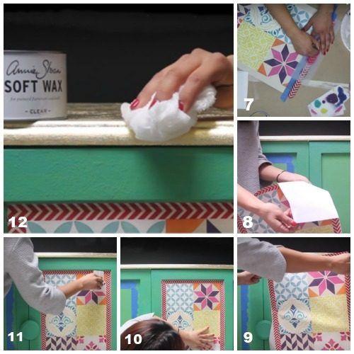 Decora tus muebles antiguos con plantillas para pintar paredes 6