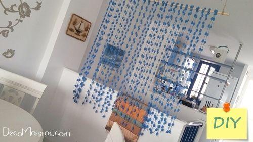 Separador de ambientes DIY con lanas de pompones Decomanitas