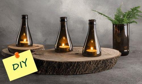 Decoracion vintage muebles con palets y reciclados ideas - Botellas con velas ...