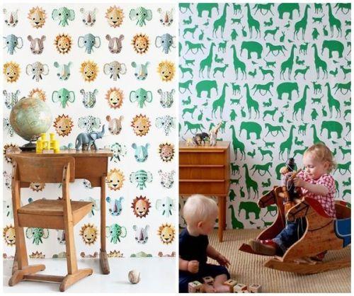Ideas para decorar habitaciones infantiles originales con - Papel pintado pared infantil ...
