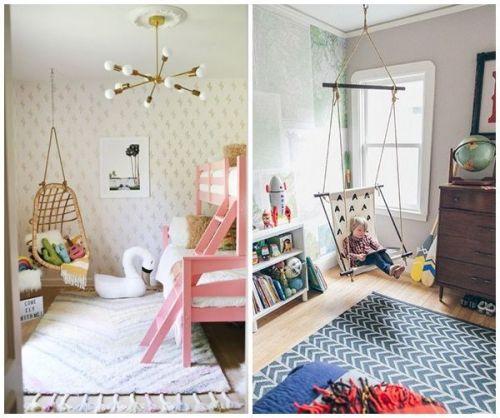 Un rincón para soñar en una silla colgante: dos ideas para decorar habitaciones infantiles originales con fantasía.