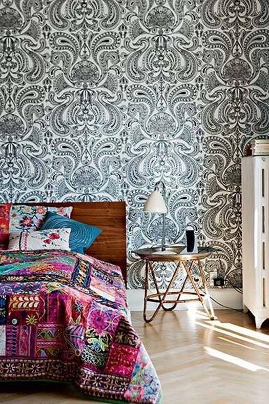 Como crear paredes de acento con papeles pintados 9 - Papeles pintados para paredes ...