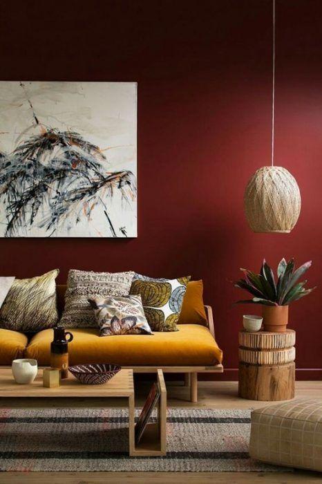 Ideas decoración salón: contrastes de color y texturas terciopelo y orgánico.