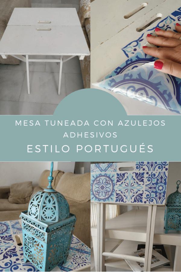 DIY Mesa tuneada con azulejos adhesivos sticker baldosa decorativa pegatina imitando azulejo hidráulico