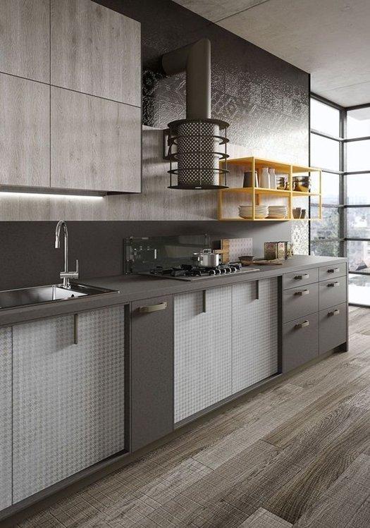 Campana de cocina de diseño vintage, similar a una estufa nórdica.