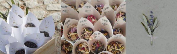 Todos los materiales de imprenta coordinados para el gran día con el diseño de invitación: conos de confeti ideales.