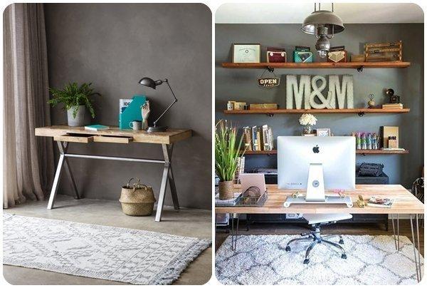 Tendencia: madera y paredes en gris para decorar una oficina en casa.
