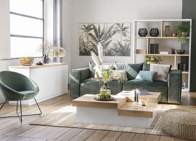 Sofás modernos en un tejido clásico: moderlo de Maisons du Monde.
