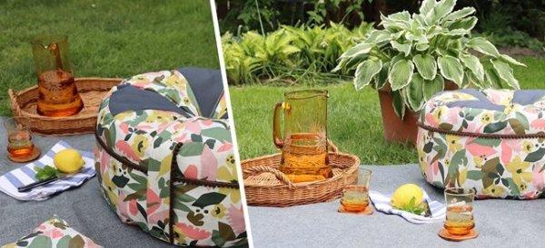 Decoracion de jardin con telas de exterior: un puf DIY