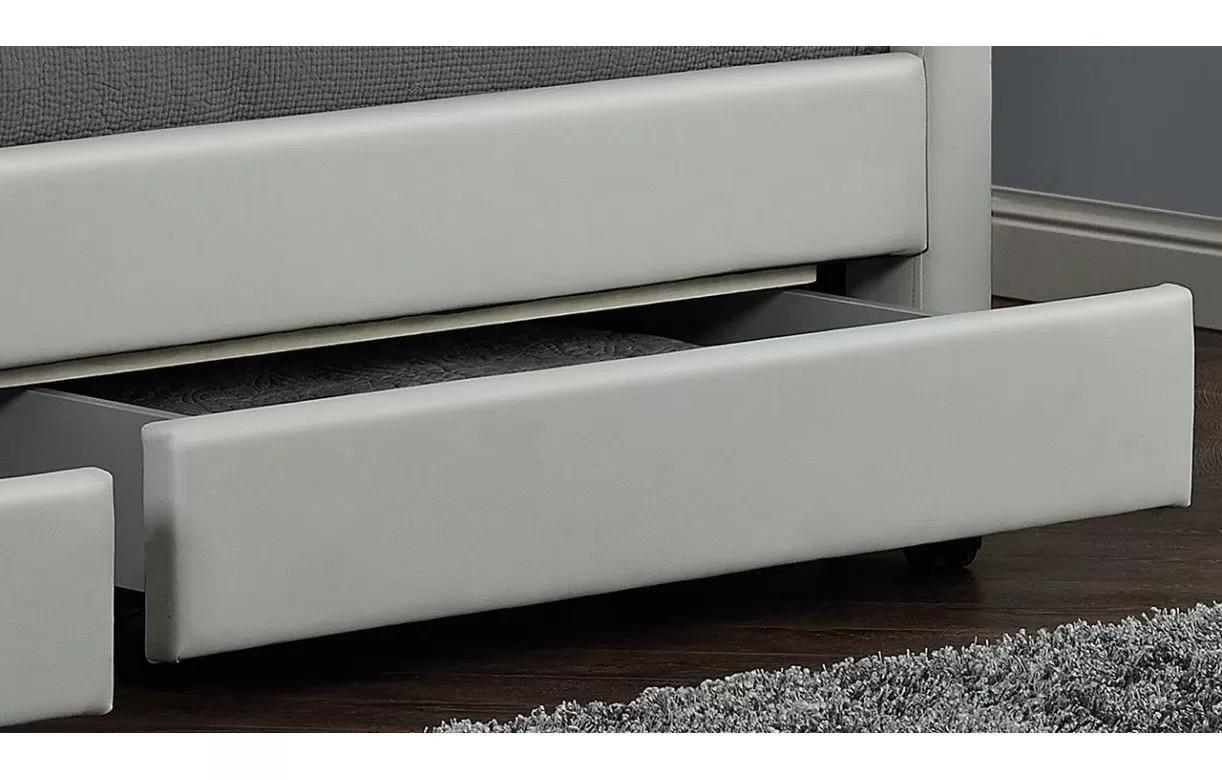 Lit Double Design Blanc Italien 140 Cm Avec 4 Tiroirs Et